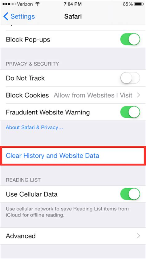 iOS - Clearing Cache and Cookies