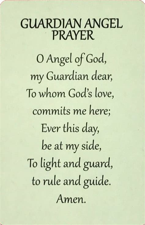 Guardian Angel Wallet Prayer Card - The ACTS Mission Store