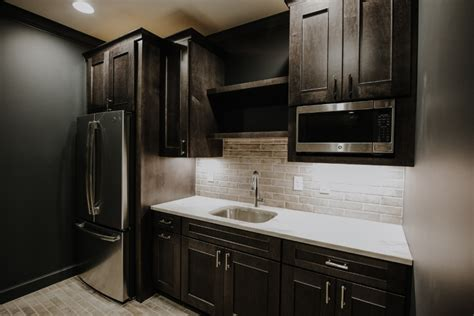 Yorktowne cabinets in maple with smoke stain