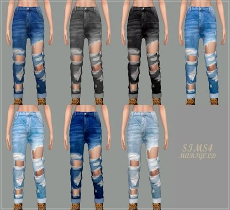 Female Roll Up Destroyed Jeans at Marigold » Sims 4 Updates