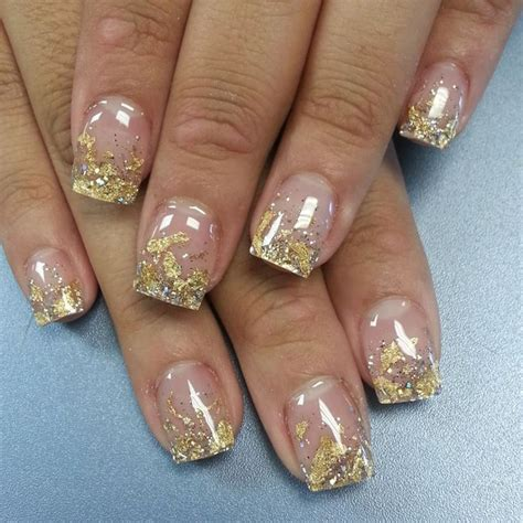French manicure with gold tips | Nails | Pinterest