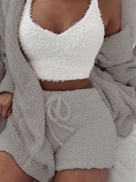 Grey Belt Lace-up Long Sleeve Two Piece Fluffy Pajamas