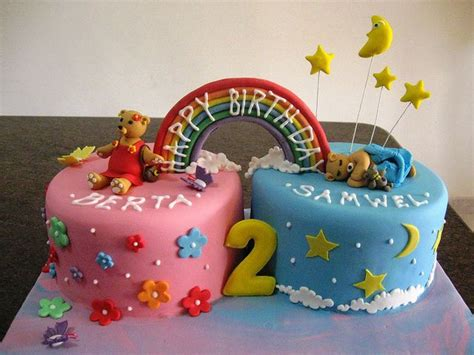 Twin cake for two twins a boy and a girl