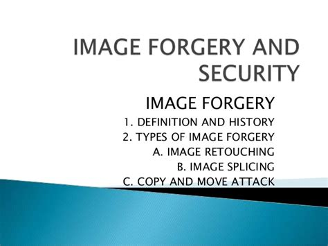 Image forgery and security
