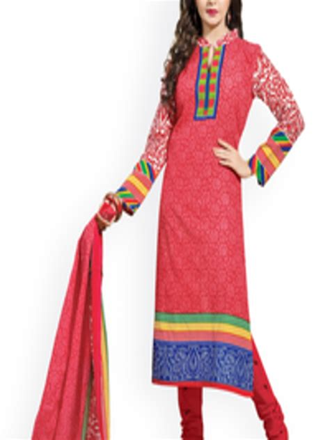 Buy Rajnandini Red & Blue Printed Unstitched Dress