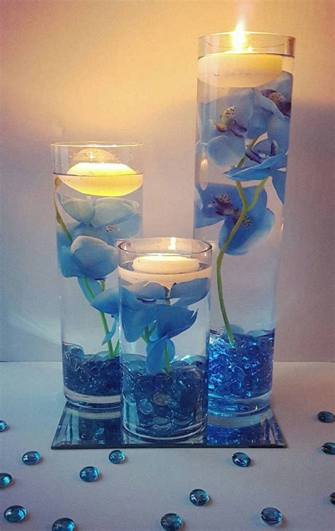 Wedding Centerpiece, Floating Candle Centerpiece with Blue