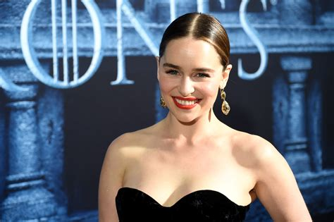 Emilia Clarke wore a sheer sweater with a lacy bra, and